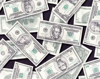 Fat Quarter - Pleasures and Pastimes Money Fabric Robert Kaufman ETJ-5211-1 Money