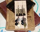 Victorian Steam Punk Inspired Antique Gem Tin Type Photo Dangle Earrings Key Clock Hand Bakelite Button Gina's Creations Original