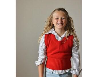 1970s Burnt Orange Sweater Vest >>> Kids Size 7/8/10