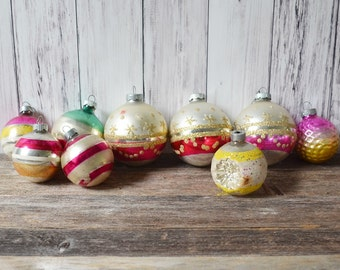 Christmas Ornaments Glass Decorations Vintage Christmas Lot of Ornaments Set of 3