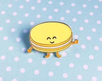 Macaron Yellow Enamel Pin - dessert french pastry food pastel lapel