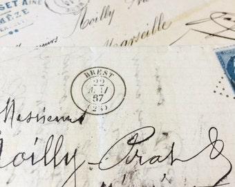 5 Antique 1800s French Letters Paris Calligraphy Script Lot C