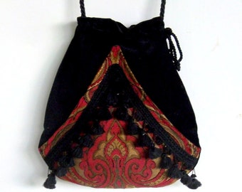 Boho Fringe Bag Black Velvet Pocket Boho Bag Tapestry Cranberry Chenille Drawstring Bag   Bohemian Bag  Crossbody Purse