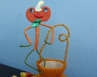 Vintage Style Halloween - Japan Head Pumpkin Head Party Favor Basket
