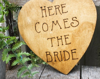 Here Comes the Bride  -Wedding  Photo Prop - Flower Girl Sign - Ring Bearer Sign