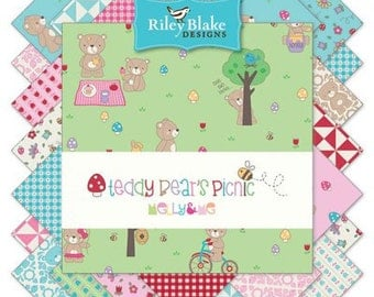 "FABRIC 5"" Stacker CHARM PACK Teddy Bear's Picnic by Riley Blake"