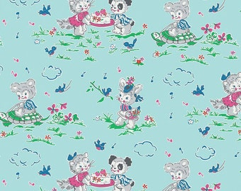 Clearance FABRIC STRAWBERRY BISCUIT Animals on Blue Aqua by Riley Blake 1/2 yard
