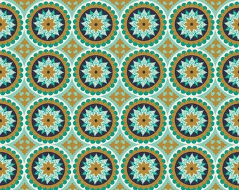SALE ~ La Vie Boheme ~ Medallion Print in Teal with Gold Sparkle Accents ~ Quilted Fish for Riley Blake ~ 100% woven cotton by the yard