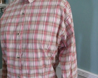 SALE 40% OFF Vintage Western Shirt. Womans Vintage Plaid Texas Cotton Shirt Size M/L