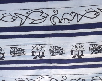 Nigerian Woven Cotton Fabric Graphic Navy Blue and White Design- 1 Yard