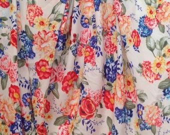 Floral Semi Sheer Knit Fabric 1 yard