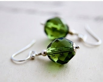 ON SALE Glass Earrings, Peridot Green, Drop Earrings, Czech Glass, Glass Jewelry, Green Glass, Dangle Earrings, Sterling Silver, PoleStar