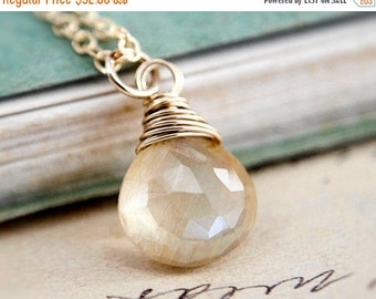 ON SALE Rutilated Quartz, Quartz Necklace, Rutilated Pendant, Wire Wrapped, Gold Necklace, Gemstone Jewelry, Gold Pendant, PoleStar, Pendant