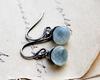 Aquamarine Earrings, Drop Earrings, Aquamarine Jewelry, Wire Wrapped, Dangle Earrings, March Birthstone, Aqua Blue, Sterling Silver