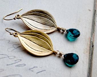 Gold Leaf Earrings, Petal Earrings, Dangle Earrings, Teal Gemstone, Gemstone Earrings, Leaf Earrings, PoleStar, Gold Filled
