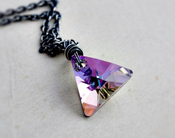 Crystal Necklace, Crystal Triangle, Swarovski Triangle, Crystal Pendant, Pink Prism, Sterling Silver, Crystal Jewelry, Geometric Jewelry