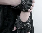 X GLAM Studded Black Leather Fingerless Gloves