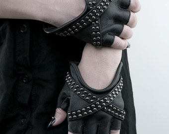 X GLAM Studded Black Leather Fingerless Gloves