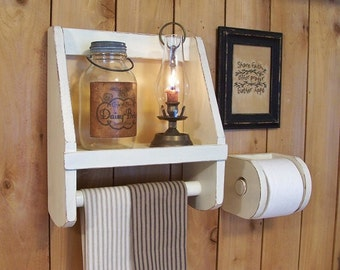 Bathroom Storage Set Towel Shelf Toilet Paper Holder Old Farmhouse Style / Original Design by Sawdusty / Color Choice