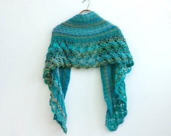 Hand Crochet Shawl, Evening Wrap, Ready to Ship, Aqua, Green Multi Lace Shawl, Fall Wrap, Multi Summer Wrap, Shawl Wrap