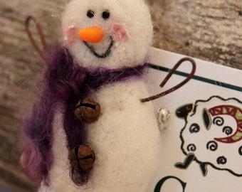 Snowman, Needle Felted Snowman Pin #1641