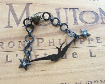 Rustic Oxidized Bird Bracelet