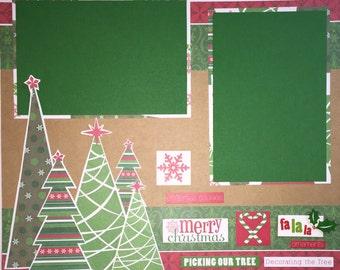 MERRY CHRISTMAS 12 x 12 premade scrapbook layout - Christmas Tree