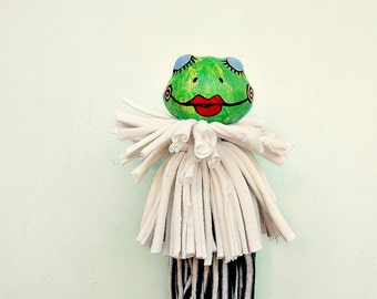 Puppet: Paper Mache Frog Stick Puppet with Salvaged Fiber, Shakespearean Frog