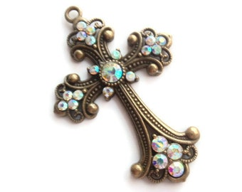 1 Large Cross Pendant, Antique Bronze Color,  Jewelry Making Supply, with AB Rhinestones,