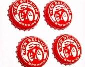 Craft Beer Magnet Set, New Belgium Beer Cap Magnets, Beer Bottle Top Magnets, Set of Four, File Cabinet Magnet, Refrigerator Magnets