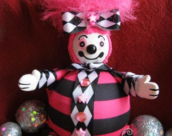 Clown! Pogo the Clown! Handmade One of a Kind Art Doll - Roly Poly Cute Clown Friend! OOAK!