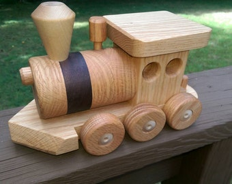 Sale 20 off! Wooden Train set (6 car)  Handmade toy Large oak and walnut Heirloom Quality  Beautifully hand finished.