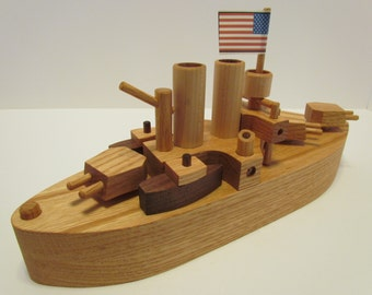 Battleship Boat Red Oak Walnut  with turning guns Beautifully hand finished with Beeswax Will personalize up to 8 letters