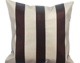 Decorative Throw Pillow Covers Accent Pillow Couch Sofa Toss Pillow Case 16x16 Chocolate Brown Faux Leather Pillow Alternating Choco