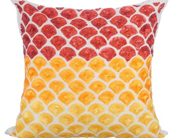 Red & Yellow Decorative Throw Pillow Covers Accent Pillow Couch Toss Bed Pillow Case 16x16 Silk Pillow Cover Sequins Embroidered Rising Sun