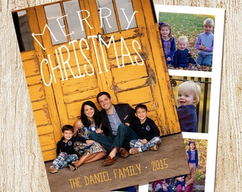 Photo Christmas Card - Digital file or Printed Cards- Photo Holiday Card - DOUBLE SIDED - multiple photos- typography - collage - simple