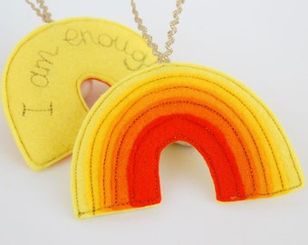 Rainbow Reminder - A Yellow Rainbow Felt Decoration Stitched in Gold with the Positive Affirmation, I am Enough. Solar Plexus Chakra