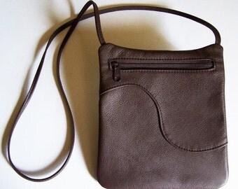 Brown Leather Purse - Leather Handbag - Rectangular Cross Body Style Festival Bag