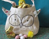 Owl Bag printed cotton lining and ear feathers custom gift bag freemotion sewn features purse, easter gift bag, owl easter basket