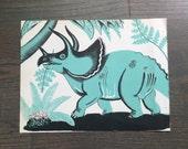 Mid Century Dinosaur Print Vintage Children's Book Page Triceratops/Brontosaurus  Illustration Dahlov Ipcar