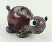 Smiling Purple Floral Turtle Lampworked Glass Figurine Bead