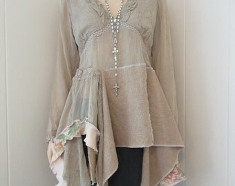 RESERVED for GP Boho Gypsy Womens Tunic Parchment Crepe & Rose Print Linen Sand Peach with Ruffles and Lace Size S - M
