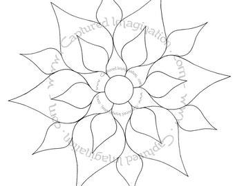 DIY Coloring Page - Flower Mandala Starter No. 2 - Instant Download