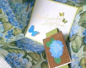 WEDDING CONGRATULATIONS Card, blue Hydrangeas, folded pinwheel style, in shades of blue and green