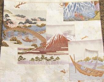 Vintage Japanese Kimono Obi Silk Piece with Ukiyo-e Landscapes Hokusai Red Mt Fuji