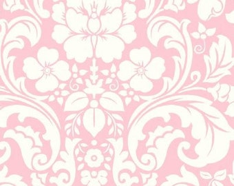 Henry Glass Damask Pastel Pink Blushing Fabric
