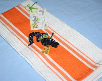 Halloween Kitchen Towel, Witch on a Broom Kitchen Towel, halloween Appliqued Kitchen Towel