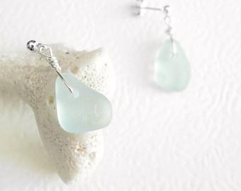 Small Sea Glass Earrings, Mint Green Eco Friendly Jewelry, Silver Post Earrings