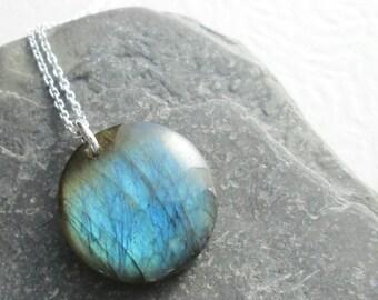 Blue Labradorite Pendant, Round Semi Precious Stone Necklace, Small