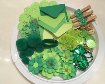 RESERVED IDA, Inspiration Kit, Scrapbooking, Smash Book, Journal, Mixed Media, Assorted Supplies, Assemblage, Irish Green, St. Patrick's Day